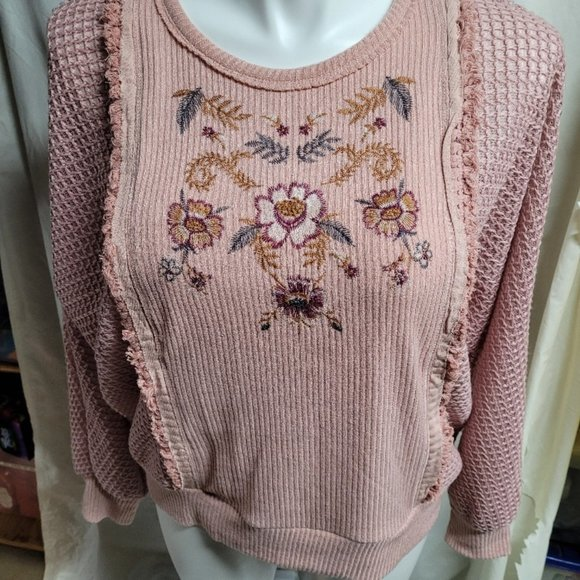 Women's Embroidered Knit Sweater Dusty Rose XXL